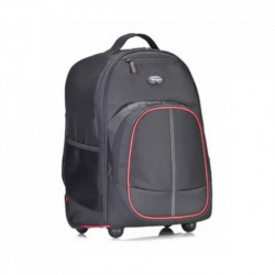 "Targus 16"" Compart Rolling Backpack, Black/Red"